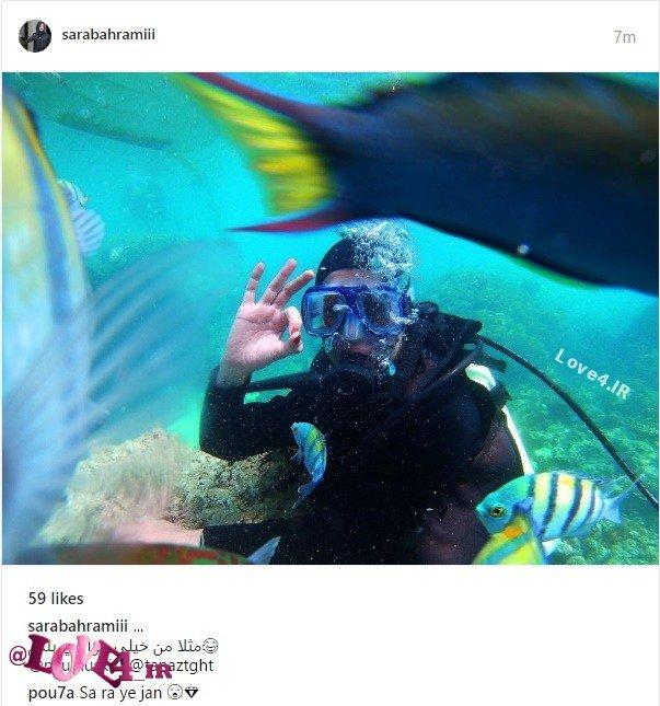 شنای خانم بازیگر در سواحل مرجانی  عکس سارا بهرامی