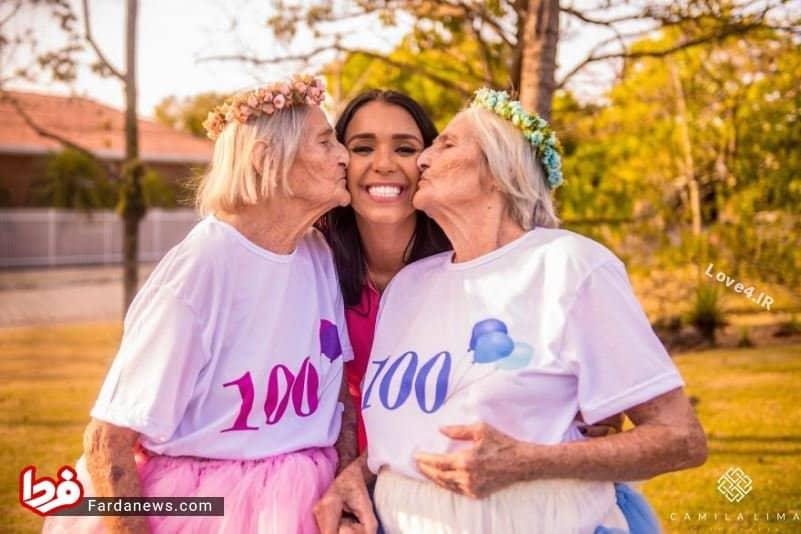 تصاویر جشن تولد 100 سالگی خواهران دوقلو