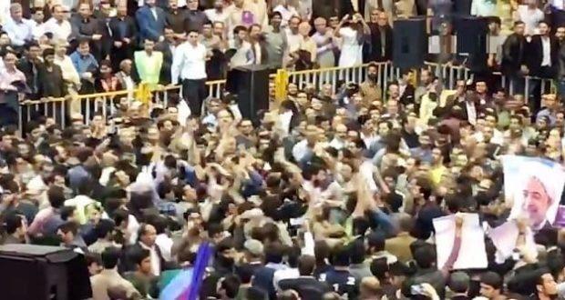 درگیری و دعوا بین هواداران روحانی و رئیسی در قم +فیلم