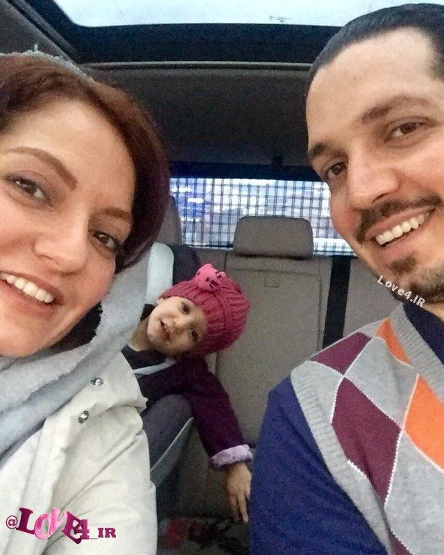 عکس سلفی مهناز افشار با همسر و دخترش در ماشین