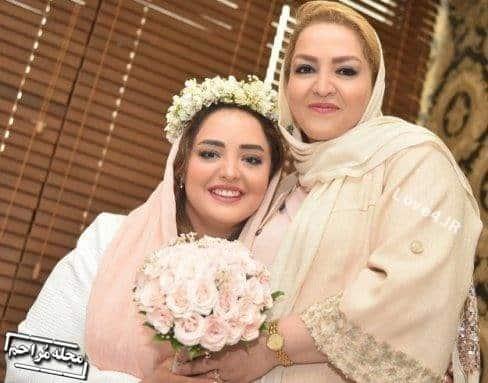 عکس نرگس محمدی و مادرش در مراسم عقدش
