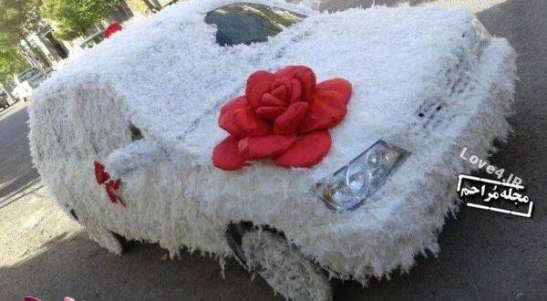 تزیین ماشین عروس با پر مرغ 96