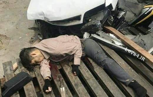 جسد زورگیر قمه به دست در تصادف کشته شد+عکس
