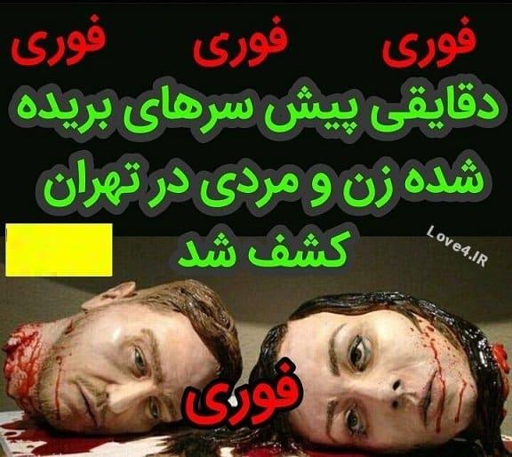کشف سرهای بریده زن و مرد در اتوبان شیخ بهایی تهران +عکس