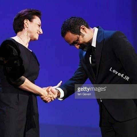 دست دادن جلیلوند و نوید محمدزاده با زن در جشنواره ونیز