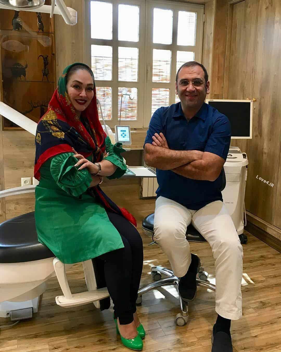 عکس یادگاری الهام حمیدی با دکتر دندانپزشکش