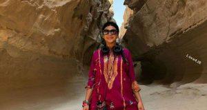 مدل لباس آزاده صمدی در جزیره قشم
